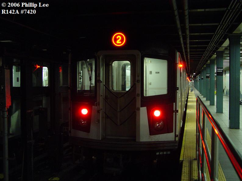 (55k, 794x596)<br><b>Country:</b> United States<br><b>City:</b> New York<br><b>System:</b> New York City Transit<br><b>Line:</b> IRT Brooklyn Line<br><b>Location:</b> Flatbush Avenue <br><b>Route:</b> 2<br><b>Car:</b> R-142A (Primary Order, Kawasaki, 1999-2002)  7420 <br><b>Photo by:</b> Phillip Lee<br><b>Date:</b> 11/1/2006<br><b>Viewed (this week/total):</b> 0 / 4735