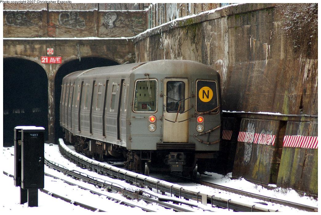 (234k, 1044x701)<br><b>Country:</b> United States<br><b>City:</b> New York<br><b>System:</b> New York City Transit<br><b>Line:</b> BMT Sea Beach Line<br><b>Location:</b> 20th Avenue <br><b>Route:</b> N<br><b>Car:</b> R-68A (Kawasaki, 1988-1989)  5128 <br><b>Photo by:</b> Christopher Esposito<br><b>Date:</b> 2/26/2007<br><b>Viewed (this week/total):</b> 0 / 2395
