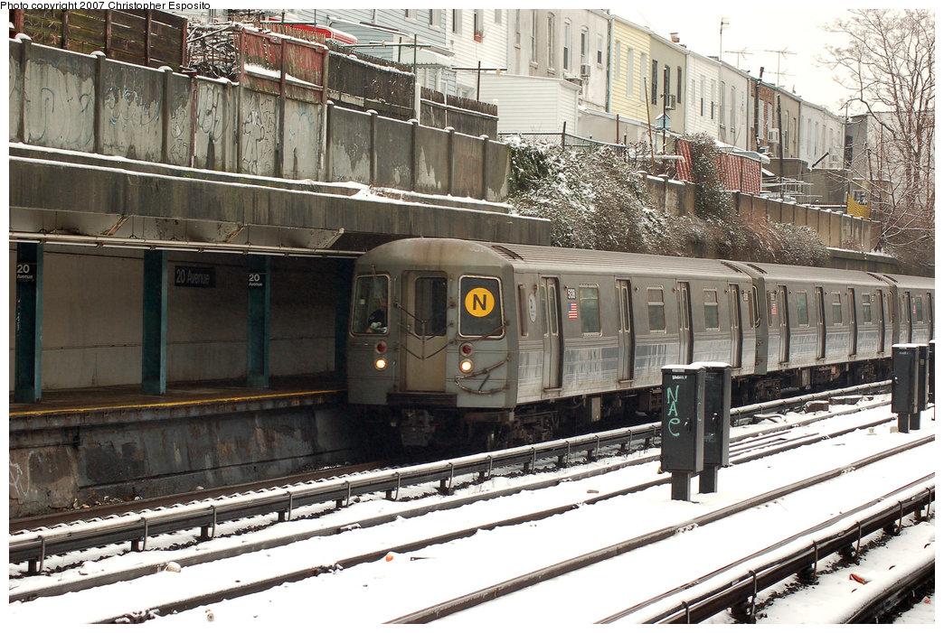 (238k, 1044x701)<br><b>Country:</b> United States<br><b>City:</b> New York<br><b>System:</b> New York City Transit<br><b>Line:</b> BMT Sea Beach Line<br><b>Location:</b> 20th Avenue <br><b>Route:</b> N<br><b>Car:</b> R-68A (Kawasaki, 1988-1989)  5138 <br><b>Photo by:</b> Christopher Esposito<br><b>Date:</b> 2/26/2007<br><b>Viewed (this week/total):</b> 3 / 1987
