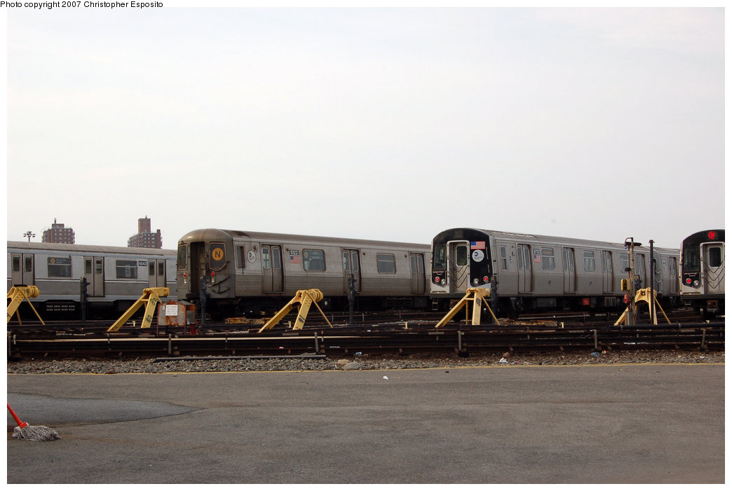 (125k, 1044x701)<br><b>Country:</b> United States<br><b>City:</b> New York<br><b>System:</b> New York City Transit<br><b>Location:</b> Coney Island Yard<br><b>Car:</b> R-160B (Kawasaki, 2005-2008)  8713 <br><b>Photo by:</b> Christopher Esposito<br><b>Date:</b> 3/10/2007<br><b>Notes:</b> With R40M 4543 and R68A 5122<br><b>Viewed (this week/total):</b> 3 / 2375