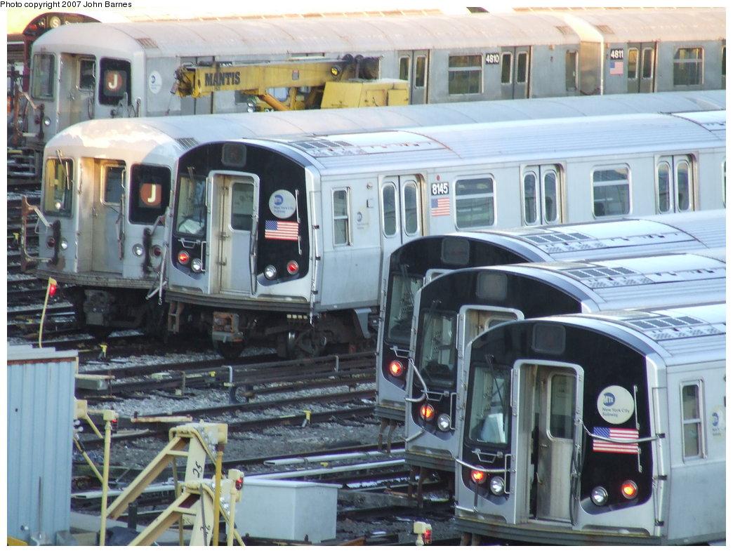 (190k, 1044x788)<br><b>Country:</b> United States<br><b>City:</b> New York<br><b>System:</b> New York City Transit<br><b>Location:</b> East New York Yard/Shops<br><b>Car:</b> R-143 (Kawasaki, 2001-2002) 8145 <br><b>Photo by:</b> John Barnes<br><b>Date:</b> 3/8/2007<br><b>Viewed (this week/total):</b> 1 / 2723