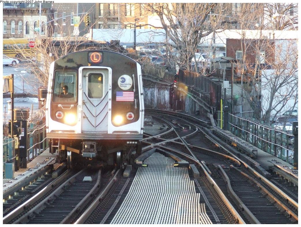 (281k, 1044x788)<br><b>Country:</b> United States<br><b>City:</b> New York<br><b>System:</b> New York City Transit<br><b>Line:</b> BMT Canarsie Line<br><b>Location:</b> Broadway Junction <br><b>Route:</b> L<br><b>Car:</b> R-143 (Kawasaki, 2001-2002)  <br><b>Photo by:</b> John Barnes<br><b>Date:</b> 3/8/2007<br><b>Viewed (this week/total):</b> 7 / 3402