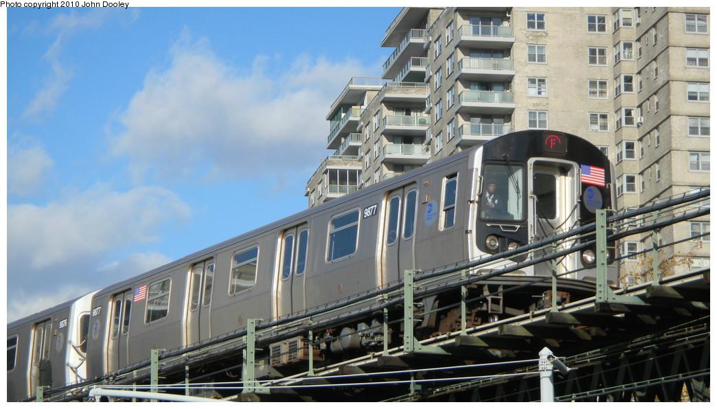 (237k, 1044x596)<br><b>Country:</b> United States<br><b>City:</b> New York<br><b>System:</b> New York City Transit<br><b>Line:</b> BMT Culver Line<br><b>Location:</b> Neptune Avenue <br><b>Route:</b> F<br><b>Car:</b> R-160B (Option 2) (Kawasaki, 2009)  9877 <br><b>Photo by:</b> John Dooley<br><b>Date:</b> 11/18/2010<br><b>Viewed (this week/total):</b> 0 / 938