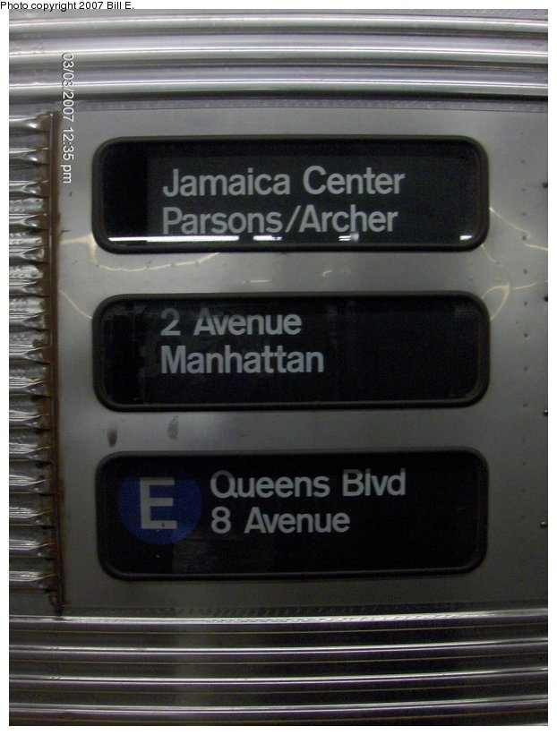 (90k, 622x821)<br><b>Country:</b> United States<br><b>City:</b> New York<br><b>System:</b> New York City Transit<br><b>Line:</b> IND 6th Avenue Line<br><b>Location:</b> 2nd Avenue <br><b>Route:</b> E<br><b>Car:</b> R-32 (Budd, 1964)  3498 <br><b>Photo by:</b> Bill E.<br><b>Date:</b> 3/3/2007<br><b>Notes:</b> E train diversion to 2nd Avenue.<br><b>Viewed (this week/total):</b> 0 / 3201