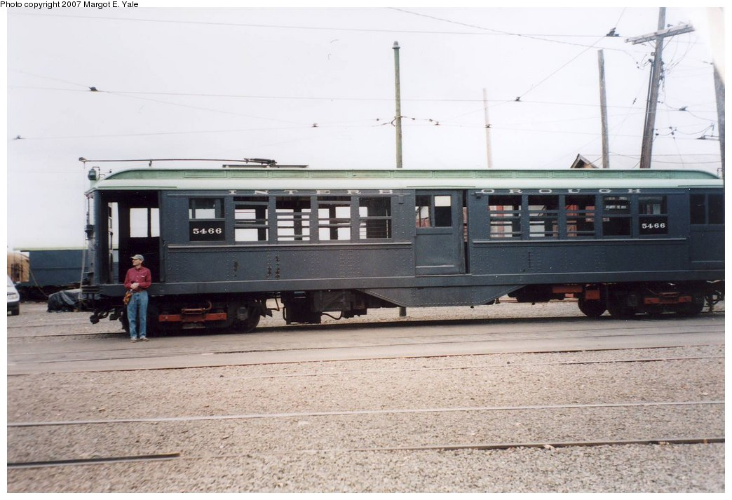 (139k, 1044x713)<br><b>Country:</b> United States<br><b>City:</b> East Haven/Branford, Ct.<br><b>System:</b> Shore Line Trolley Museum <br><b>Car:</b> Low-V 5466 <br><b>Photo by:</b> Margot E. Yale<br><b>Date:</b> 3/2007<br><b>Notes:</b> IRT Lo-V 5466 at the Shoreline Trolley Museum in Branford CT. David R. Yale has just driven it in the Museum's Guest Operator program.<br><b>Viewed (this week/total):</b> 0 / 1286