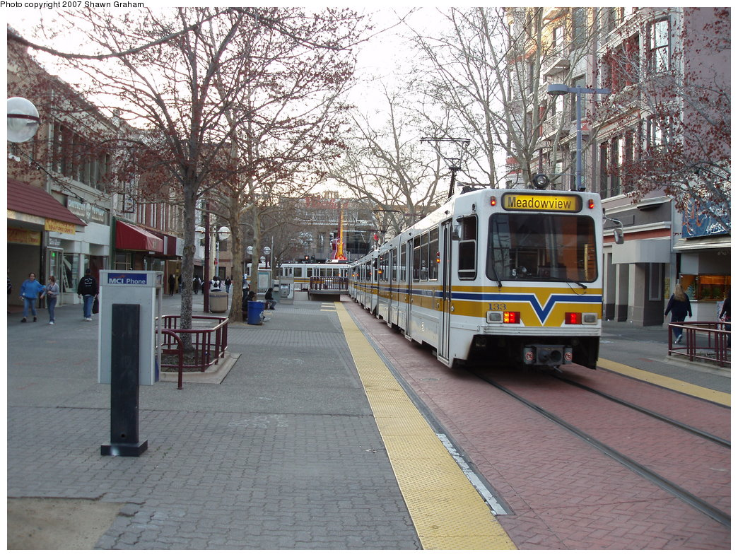 (280k, 1044x788)<br><b>Country:</b> United States<br><b>City:</b> Sacramento, CA<br><b>System:</b> SACRT Light Rail<br><b>Location:</b> 7th & K <br><b>Car:</b> Sacramento Siemens LRV  133 <br><b>Photo by:</b> Shawn Graham<br><b>Date:</b> 3/8/2007<br><b>Viewed (this week/total):</b> 3 / 1394