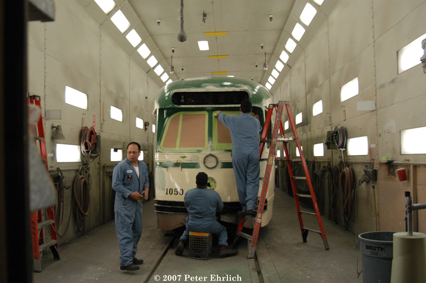 (153k, 864x574)<br><b>Country:</b> United States<br><b>City:</b> San Francisco/Bay Area, CA<br><b>System:</b> SF MUNI<br><b>Location:</b> Muni Paint Shop <br><b>Car:</b> SF MUNI PCC (Ex-SEPTA) (St. Louis Car Co., 1947-1948)  1050 <br><b>Photo by:</b> Peter Ehrlich<br><b>Date:</b> 3/8/2007<br><b>Notes:</b> Geneva Paint Shop.<br><b>Viewed (this week/total):</b> 0 / 454