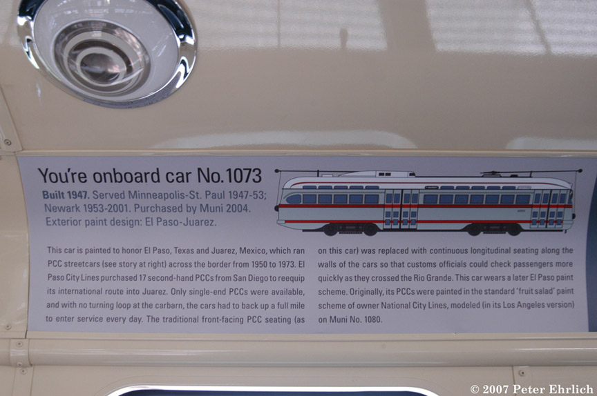 (140k, 864x574)<br><b>Country:</b> United States<br><b>City:</b> San Francisco/Bay Area, CA<br><b>System:</b> SF MUNI<br><b>Car:</b> SF MUNI PCC (Ex-NJTransit, Ex-Twin City) (St. Louis Car Co., 1946-1947)  1073 <br><b>Photo by:</b> Peter Ehrlich<br><b>Date:</b> 3/8/2007<br><b>Notes:</b> Interior car cards for the ex-Newark PCCs.<br><b>Viewed (this week/total):</b> 2 / 501