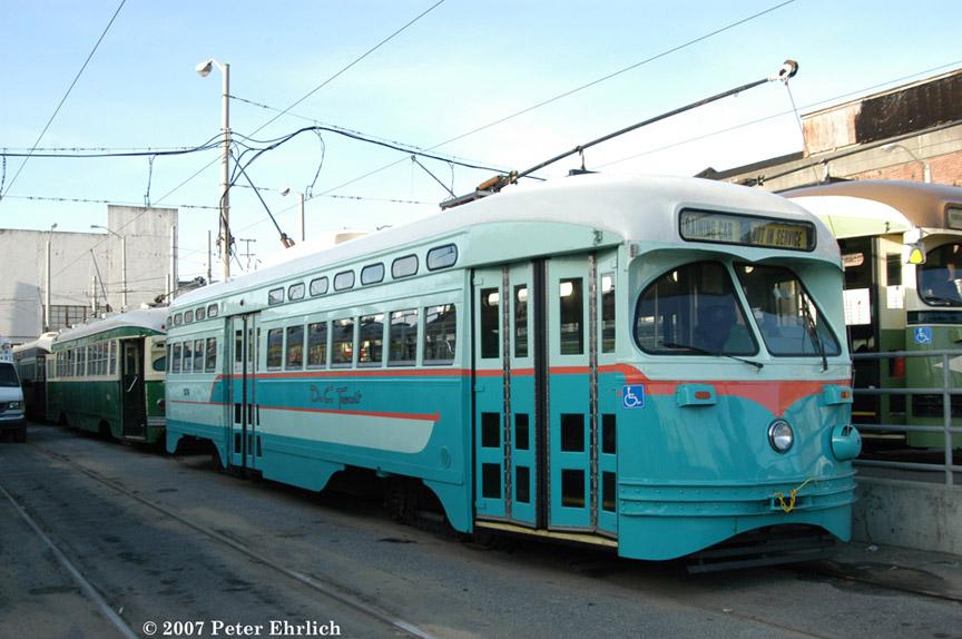 (178k, 864x574)<br><b>Country:</b> United States<br><b>City:</b> San Francisco/Bay Area, CA<br><b>System:</b> SF MUNI<br><b>Location:</b> Geneva Yard <br><b>Car:</b> SF MUNI PCC (Ex-NJTransit, Ex-Twin City) (St. Louis Car Co., 1946-1947)  1076 <br><b>Photo by:</b> Peter Ehrlich<br><b>Date:</b> 3/8/2007<br><b>Notes:</b> Washington, Illinois Terminal cars in Geneva Yard.<br><b>Viewed (this week/total):</b> 3 / 1048