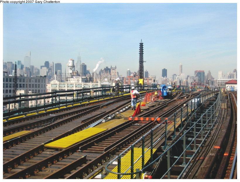 (136k, 820x620)<br><b>Country:</b> United States<br><b>City:</b> New York<br><b>System:</b> New York City Transit<br><b>Line:</b> IRT Flushing Line<br><b>Location:</b> Queensborough Plaza <br><b>Photo by:</b> Gary Chatterton<br><b>Date:</b> 3/9/2007<br><b>Notes:</b> Track work between QBP and 33rd/Rawson.<br><b>Viewed (this week/total):</b> 2 / 1859