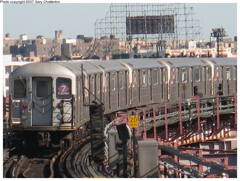 (130k, 820x620)<br><b>Country:</b> United States<br><b>City:</b> New York<br><b>System:</b> New York City Transit<br><b>Line:</b> IRT Flushing Line<br><b>Location:</b> Queensborough Plaza <br><b>Route:</b> 7<br><b>Car:</b> R-62A (Bombardier, 1984-1987)  1736 <br><b>Photo by:</b> Gary Chatterton<br><b>Date:</b> 3/9/2007<br><b>Viewed (this week/total):</b> 2 / 2594