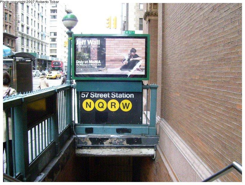 (153k, 820x620)<br><b>Country:</b> United States<br><b>City:</b> New York<br><b>System:</b> New York City Transit<br><b>Line:</b> BMT Broadway Line<br><b>Location:</b> 57th Street <br><b>Photo by:</b> Roberto C. Tobar<br><b>Date:</b> 3/18/2007<br><b>Notes:</b> Station entrance.<br><b>Viewed (this week/total):</b> 0 / 2805