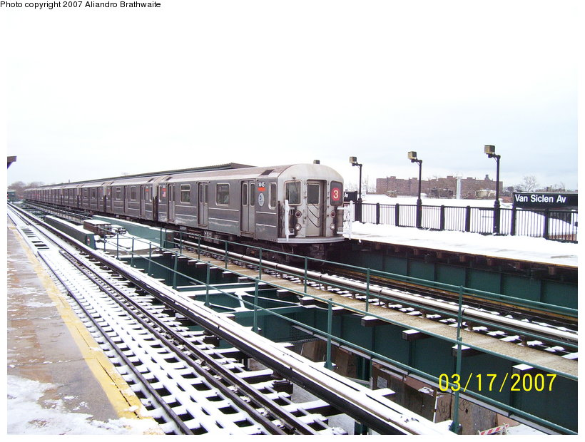 (132k, 820x620)<br><b>Country:</b> United States<br><b>City:</b> New York<br><b>System:</b> New York City Transit<br><b>Line:</b> IRT Brooklyn Line<br><b>Location:</b> Van Siclen Avenue <br><b>Route:</b> 3<br><b>Car:</b> R-62 (Kawasaki, 1983-1985)  1445 <br><b>Photo by:</b> Aliandro Brathwaite<br><b>Date:</b> 3/17/2007<br><b>Viewed (this week/total):</b> 0 / 2965