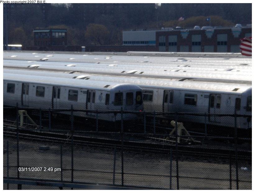 (91k, 820x621)<br><b>Country:</b> United States<br><b>City:</b> New York<br><b>System:</b> New York City Transit<br><b>Location:</b> Jamaica Yard/Shops<br><b>Car:</b> R-46 (Pullman-Standard, 1974-75)  <br><b>Photo by:</b> Bill E.<br><b>Date:</b> 3/11/2007<br><b>Notes:</b> R46 with W rollsign in Jamaica Yard.<br><b>Viewed (this week/total):</b> 3 / 3178