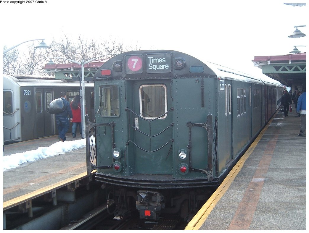 (150k, 1044x788)<br><b>Country:</b> United States<br><b>City:</b> New York<br><b>System:</b> New York City Transit<br><b>Line:</b> IRT Pelham Line<br><b>Location:</b> East 177th Street/Parkchester <br><b>Route:</b> Fan Trip<br><b>Car:</b> R-33 Main Line (St. Louis, 1962-63) 9068 <br><b>Photo by:</b> Chris M.<br><b>Date:</b> 2/26/2005<br><b>Viewed (this week/total):</b> 2 / 1846