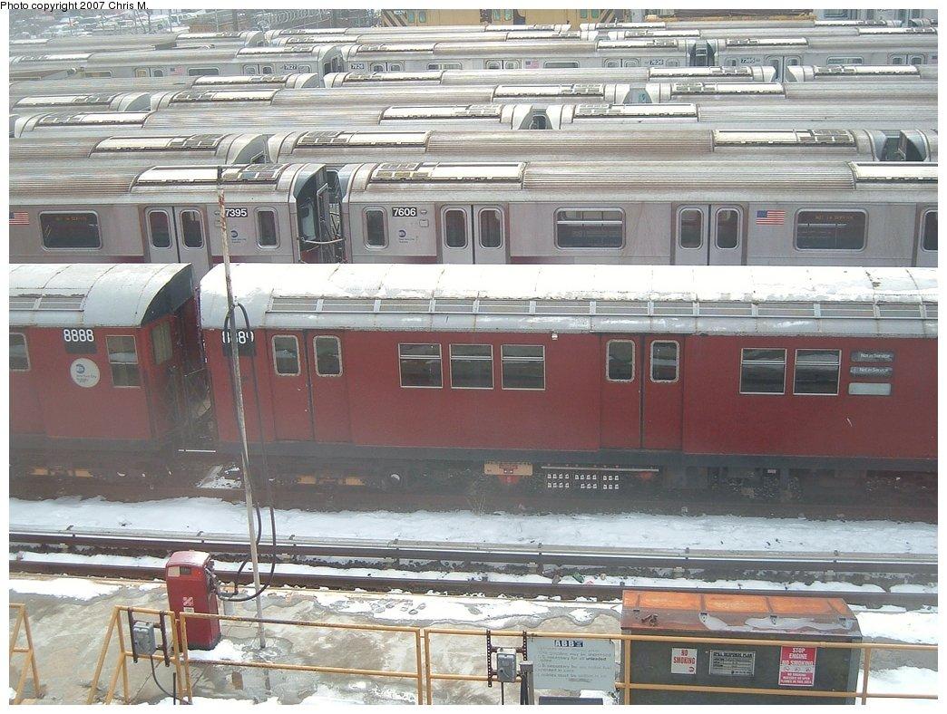 (194k, 1044x788)<br><b>Country:</b> United States<br><b>City:</b> New York<br><b>System:</b> New York City Transit<br><b>Location:</b> Westchester Yard<br><b>Car:</b> R-33 Main Line (St. Louis, 1962-63) 8889 <br><b>Photo by:</b> Chris M.<br><b>Date:</b> 2/26/2005<br><b>Viewed (this week/total):</b> 0 / 2088