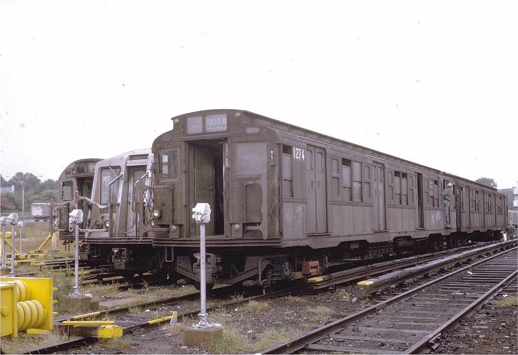 (192k, 1024x702)<br><b>Country:</b> United States<br><b>City:</b> New York<br><b>System:</b> New York City Transit<br><b>Location:</b> Jamaica Yard/Shops<br><b>Car:</b> R-4 (American Car & Foundry, 1932-1933) 1274 (ex-700)<br><b>Photo by:</b> Steve Zabel<br><b>Collection of:</b> Joe Testagrose<br><b>Date:</b> 9/1973<br><b>Viewed (this week/total):</b> 0 / 2516