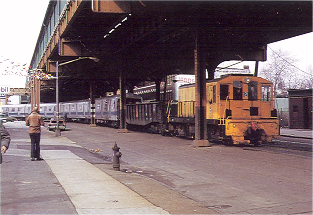 (186k, 1024x704)<br><b>Country:</b> United States<br><b>City:</b> New York<br><b>System:</b> New York City Transit<br><b>Line:</b> South Brooklyn Railway<br><b>Location:</b> Mcdonald/Ditmas - Kensington Jct (SBK)<br><b>Route:</b> Work Service<br><b>Car:</b> R-47 (SBK) Locomotive  12 <br><b>Photo by:</b> Doug Grotjahn<br><b>Collection of:</b> Joe Testagrose<br><b>Date:</b> 1972<br><b>Viewed (this week/total):</b> 5 / 3421