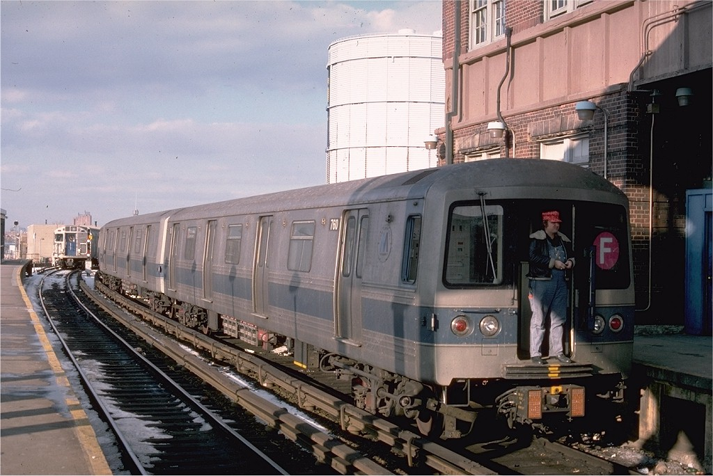 (199k, 1024x684)<br><b>Country:</b> United States<br><b>City:</b> New York<br><b>System:</b> New York City Transit<br><b>Location:</b> Coney Island/Stillwell Avenue<br><b>Route:</b> F<br><b>Car:</b> R-46 (Pullman-Standard, 1974-75) 760 <br><b>Photo by:</b> Ed McKernan<br><b>Collection of:</b> Joe Testagrose<br><b>Date:</b> 1/26/1977<br><b>Viewed (this week/total):</b> 0 / 3463
