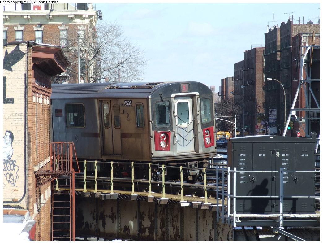 (211k, 1044x788)<br><b>Country:</b> United States<br><b>City:</b> New York<br><b>System:</b> New York City Transit<br><b>Line:</b> IRT White Plains Road Line<br><b>Location:</b> Simpson Street <br><b>Route:</b> 5<br><b>Car:</b> R-142 (Primary Order, Bombardier, 1999-2002)  6505 <br><b>Photo by:</b> John Barnes<br><b>Date:</b> 2/16/2007<br><b>Viewed (this week/total):</b> 0 / 6049