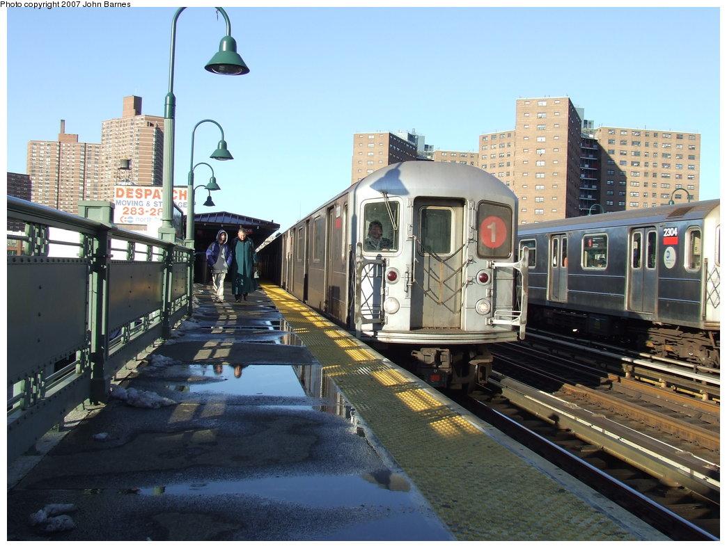 (192k, 1044x788)<br><b>Country:</b> United States<br><b>City:</b> New York<br><b>System:</b> New York City Transit<br><b>Line:</b> IRT West Side Line<br><b>Location:</b> 125th Street <br><b>Route:</b> 1<br><b>Car:</b> R-62A (Bombardier, 1984-1987)  2200 <br><b>Photo by:</b> John Barnes<br><b>Date:</b> 3/20/2007<br><b>Viewed (this week/total):</b> 0 / 2037