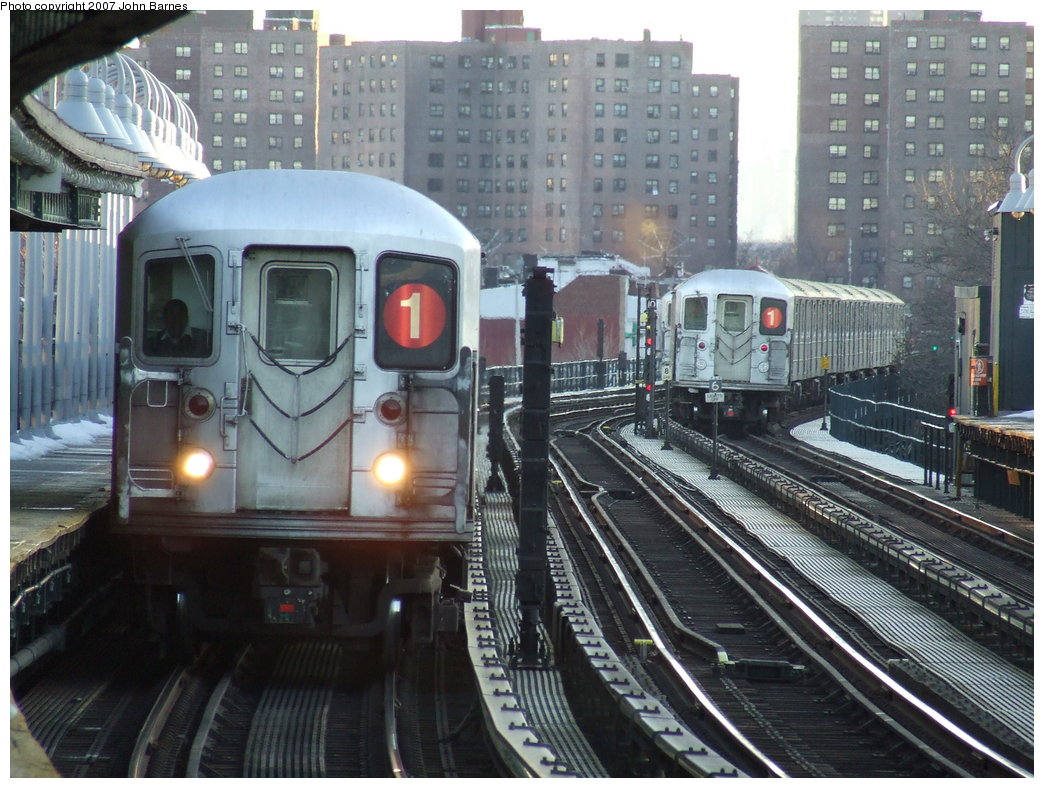 (204k, 1044x788)<br><b>Country:</b> United States<br><b>City:</b> New York<br><b>System:</b> New York City Transit<br><b>Line:</b> IRT West Side Line<br><b>Location:</b> 238th Street <br><b>Route:</b> 1<br><b>Car:</b> R-62A (Bombardier, 1984-1987)  2245 <br><b>Photo by:</b> John Barnes<br><b>Date:</b> 3/20/2007<br><b>Viewed (this week/total):</b> 0 / 3142