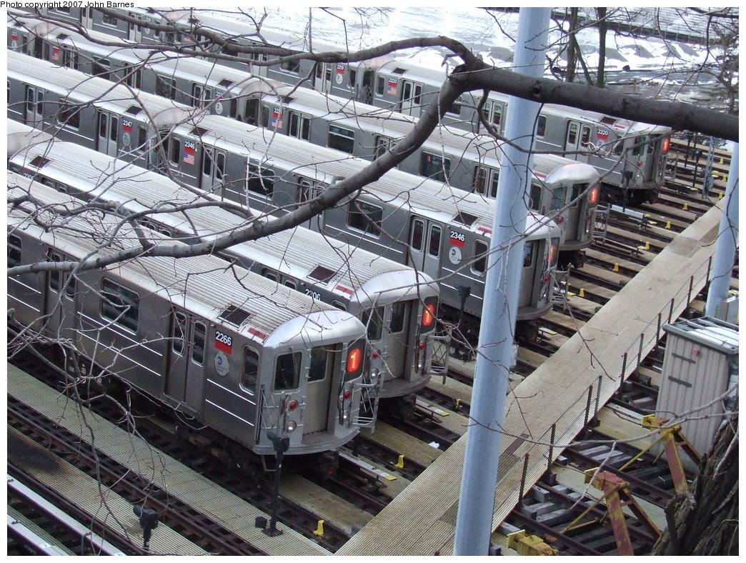 (282k, 1044x788)<br><b>Country:</b> United States<br><b>City:</b> New York<br><b>System:</b> New York City Transit<br><b>Location:</b> 240th Street Yard<br><b>Car:</b> R-62A (Bombardier, 1984-1987)  2266 <br><b>Photo by:</b> John Barnes<br><b>Date:</b> 3/20/2007<br><b>Viewed (this week/total):</b> 10 / 4650