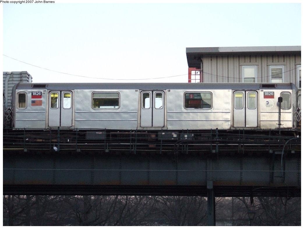 (131k, 1044x788)<br><b>Country:</b> United States<br><b>City:</b> New York<br><b>System:</b> New York City Transit<br><b>Line:</b> IRT West Side Line<br><b>Location:</b> 242nd Street/Van Cortlandt Park <br><b>Route:</b> 1<br><b>Car:</b> R-62A (Bombardier, 1984-1987)  1826 <br><b>Photo by:</b> John Barnes<br><b>Date:</b> 3/20/2007<br><b>Viewed (this week/total):</b> 2 / 3861