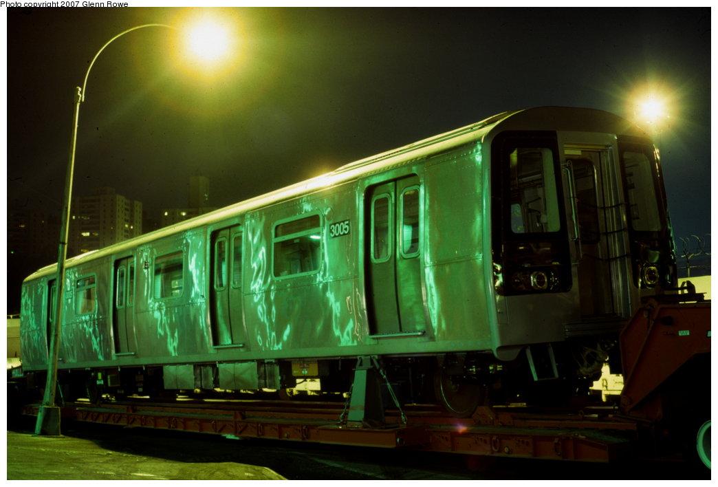 (121k, 1044x708)<br><b>Country:</b> United States<br><b>City:</b> New York<br><b>System:</b> New York City Transit<br><b>Location:</b> 207th Street Yard<br><b>Car:</b> R-110B (Bombardier, 1992) 3005 <br><b>Photo by:</b> Glenn L. Rowe<br><b>Date:</b> 10/7/1992<br><b>Notes:</b> Delivery of R110B 3005.<br><b>Viewed (this week/total):</b> 2 / 5122