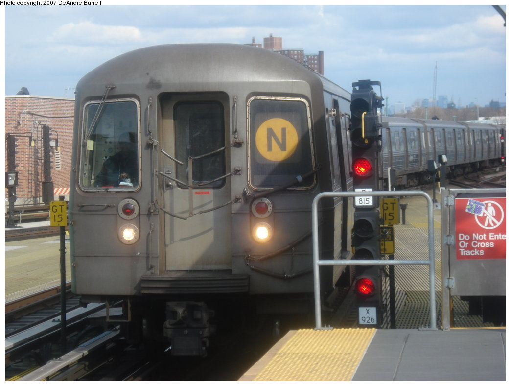 (148k, 1044x788)<br><b>Country:</b> United States<br><b>City:</b> New York<br><b>System:</b> New York City Transit<br><b>Location:</b> Coney Island/Stillwell Avenue<br><b>Route:</b> N<br><b>Car:</b> R-68/R-68A Series (Number Unknown)  <br><b>Photo by:</b> DeAndre Burrell<br><b>Date:</b> 3/5/2007<br><b>Viewed (this week/total):</b> 0 / 1875