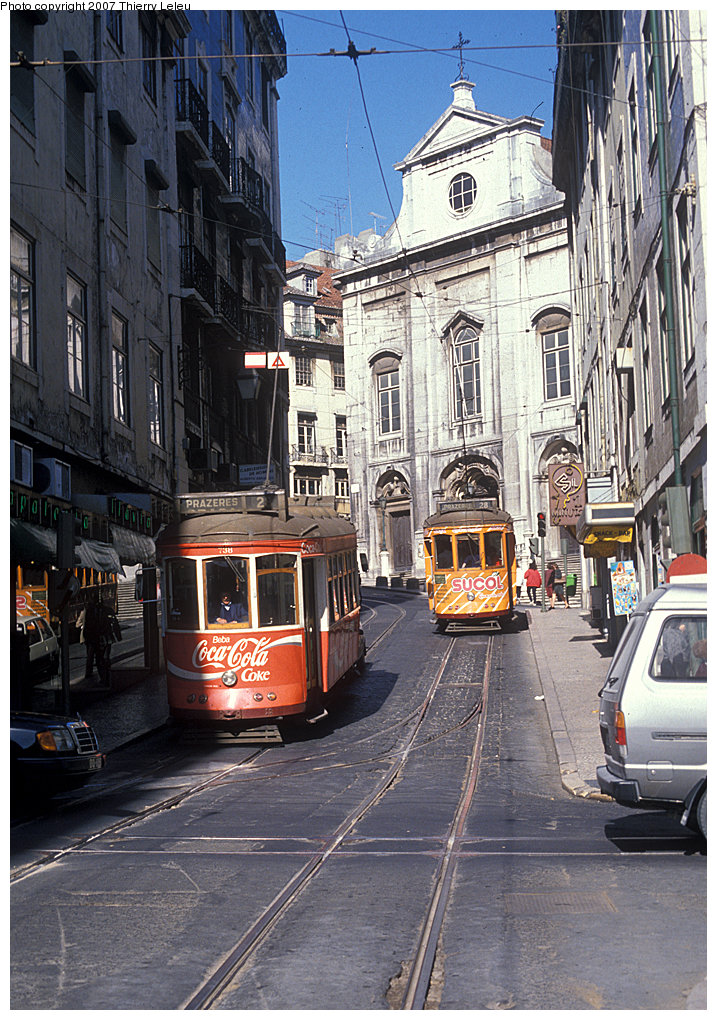 (287k, 717x1020)<br><b>Country:</b> Portugal<br><b>City:</b> Lisbon<br><b>System:</b> Companhia Carris De Ferro De Lisboa <br><b>Line:</b> 28 (Alfama via Martim Moniz - Prazares) <br><b>Location:</b> Rua Conceição - Igreja Sta. M. Madalena<br><b>Car:</b> Standard Tram (Carris, 1936-1940)  738 <br><b>Photo by:</b> Thierry Leleu<br><b>Date:</b> 7/1999<br><b>Viewed (this week/total):</b> 1 / 568