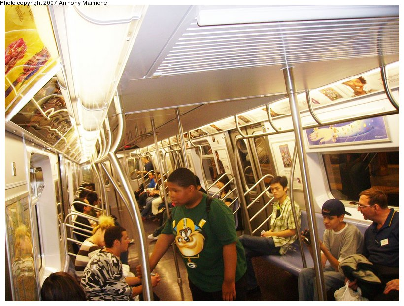 (149k, 820x620)<br><b>Country:</b> United States<br><b>City:</b> New York<br><b>System:</b> New York City Transit<br><b>Route:</b> N<br><b>Car:</b> R-160B (Kawasaki, 2005-2008)  8713 <br><b>Photo by:</b> Anthony Maimone<br><b>Date:</b> 8/17/2006<br><b>Notes:</b> First day of revenue service of the R-160B fleet as part of the 30-day test.<br><b>Viewed (this week/total):</b> 0 / 3561