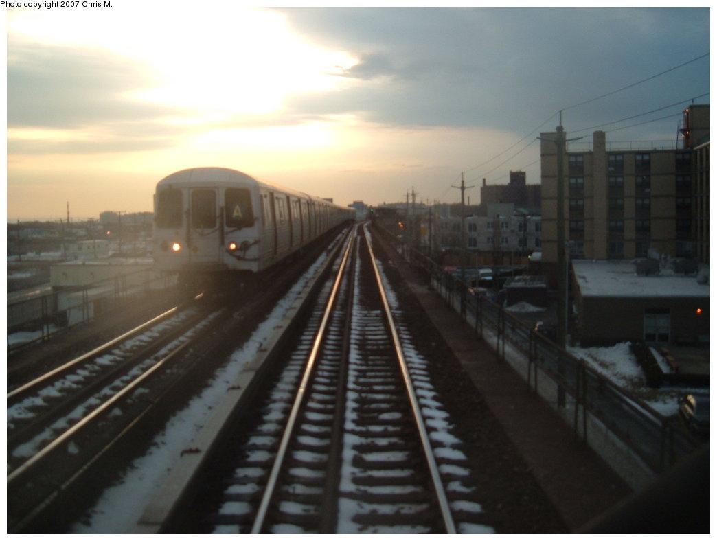 (108k, 1044x788)<br><b>Country:</b> United States<br><b>City:</b> New York<br><b>System:</b> New York City Transit<br><b>Line:</b> IND Rockaway<br><b>Location:</b> Beach 60th Street/Straiton <br><b>Route:</b> A<br><b>Car:</b> R-44 (St. Louis, 1971-73)  <br><b>Photo by:</b> Chris M.<br><b>Date:</b> 2/20/2007<br><b>Viewed (this week/total):</b> 0 / 2872