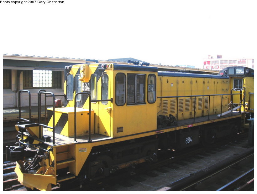 (89k, 820x620)<br><b>Country:</b> United States<br><b>City:</b> New York<br><b>System:</b> New York City Transit<br><b>Line:</b> IRT Flushing Line<br><b>Location:</b> 33rd Street/Rawson Street <br><b>Route:</b> Work Service<br><b>Car:</b> R-77 Locomotive  884 <br><b>Photo by:</b> Gary Chatterton<br><b>Date:</b> 3/9/2007<br><b>Viewed (this week/total):</b> 0 / 1508