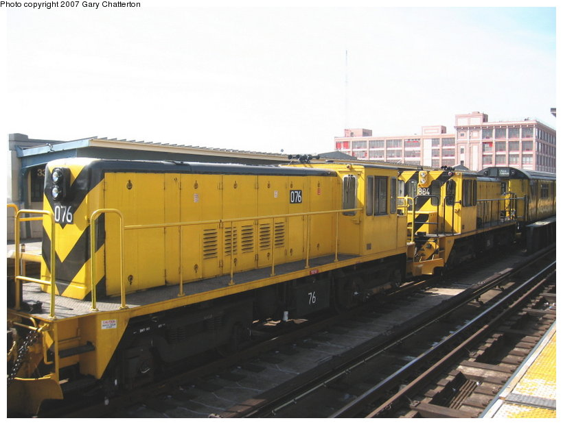 (94k, 820x620)<br><b>Country:</b> United States<br><b>City:</b> New York<br><b>System:</b> New York City Transit<br><b>Line:</b> IRT Flushing Line<br><b>Location:</b> 33rd Street/Rawson Street <br><b>Route:</b> Work Service<br><b>Car:</b> R-52 Locomotive  76 <br><b>Photo by:</b> Gary Chatterton<br><b>Date:</b> 3/9/2007<br><b>Viewed (this week/total):</b> 1 / 1223