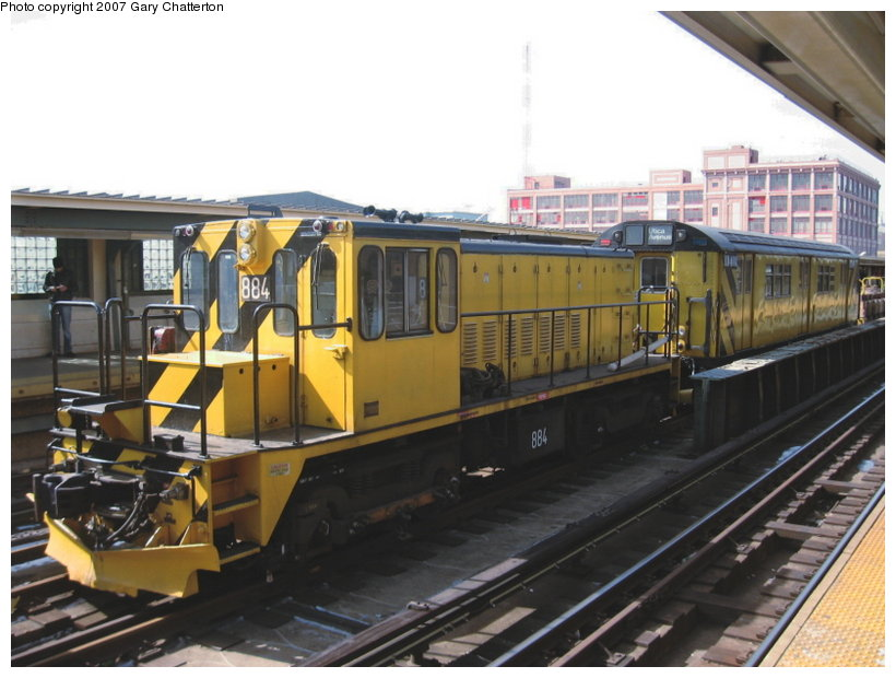 (105k, 820x620)<br><b>Country:</b> United States<br><b>City:</b> New York<br><b>System:</b> New York City Transit<br><b>Line:</b> IRT Flushing Line<br><b>Location:</b> 33rd Street/Rawson Street <br><b>Route:</b> Work Service<br><b>Car:</b> R-77 Locomotive  884 <br><b>Photo by:</b> Gary Chatterton<br><b>Date:</b> 3/9/2007<br><b>Viewed (this week/total):</b> 1 / 1660