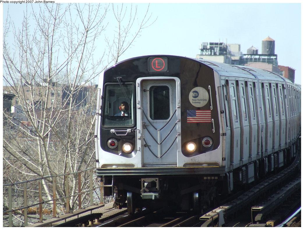 (219k, 1044x788)<br><b>Country:</b> United States<br><b>City:</b> New York<br><b>System:</b> New York City Transit<br><b>Line:</b> BMT Canarsie Line<br><b>Location:</b> Livonia Avenue <br><b>Route:</b> L<br><b>Car:</b> R-143 (Kawasaki, 2001-2002) 8169 <br><b>Photo by:</b> John Barnes<br><b>Date:</b> 3/28/2007<br><b>Viewed (this week/total):</b> 0 / 2098