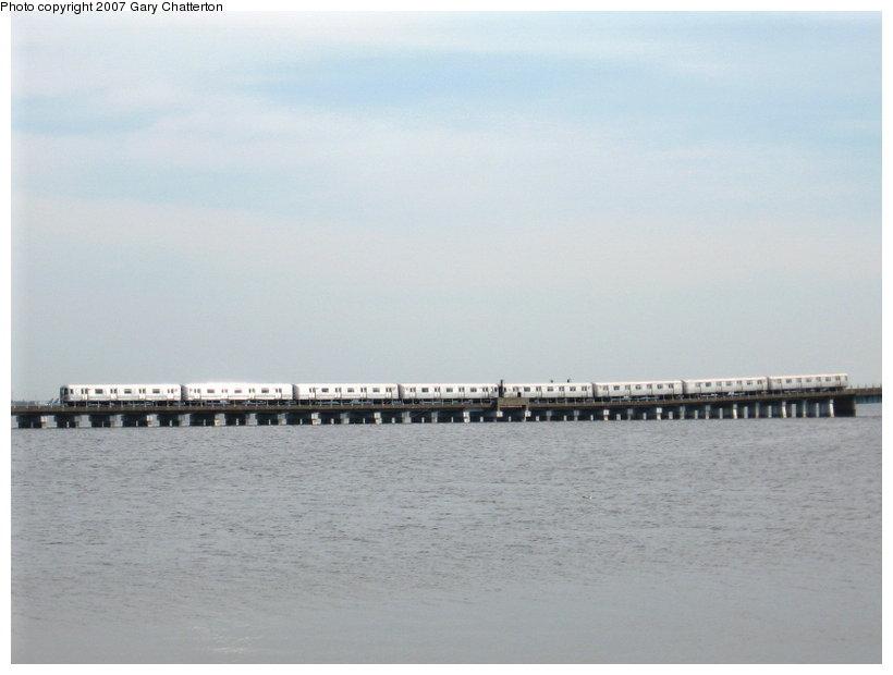 (64k, 820x620)<br><b>Country:</b> United States<br><b>City:</b> New York<br><b>System:</b> New York City Transit<br><b>Line:</b> IND Rockaway<br><b>Location:</b> Jamaica Bay Crossing<br><b>Route:</b> A<br><b>Car:</b> R-44 (St. Louis, 1971-73)  <br><b>Photo by:</b> Gary Chatterton<br><b>Date:</b> 3/27/2007<br><b>Viewed (this week/total):</b> 1 / 2577