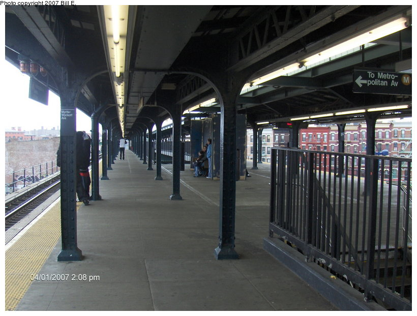 (111k, 820x622)<br><b>Country:</b> United States<br><b>City:</b> New York<br><b>System:</b> New York City Transit<br><b>Line:</b> BMT Myrtle Avenue Line<br><b>Location:</b> Wyckoff Avenue <br><b>Photo by:</b> Bill E.<br><b>Date:</b> 4/1/2007<br><b>Notes:</b> Note new covered-over area former center trackway.<br><b>Viewed (this week/total):</b> 3 / 3137