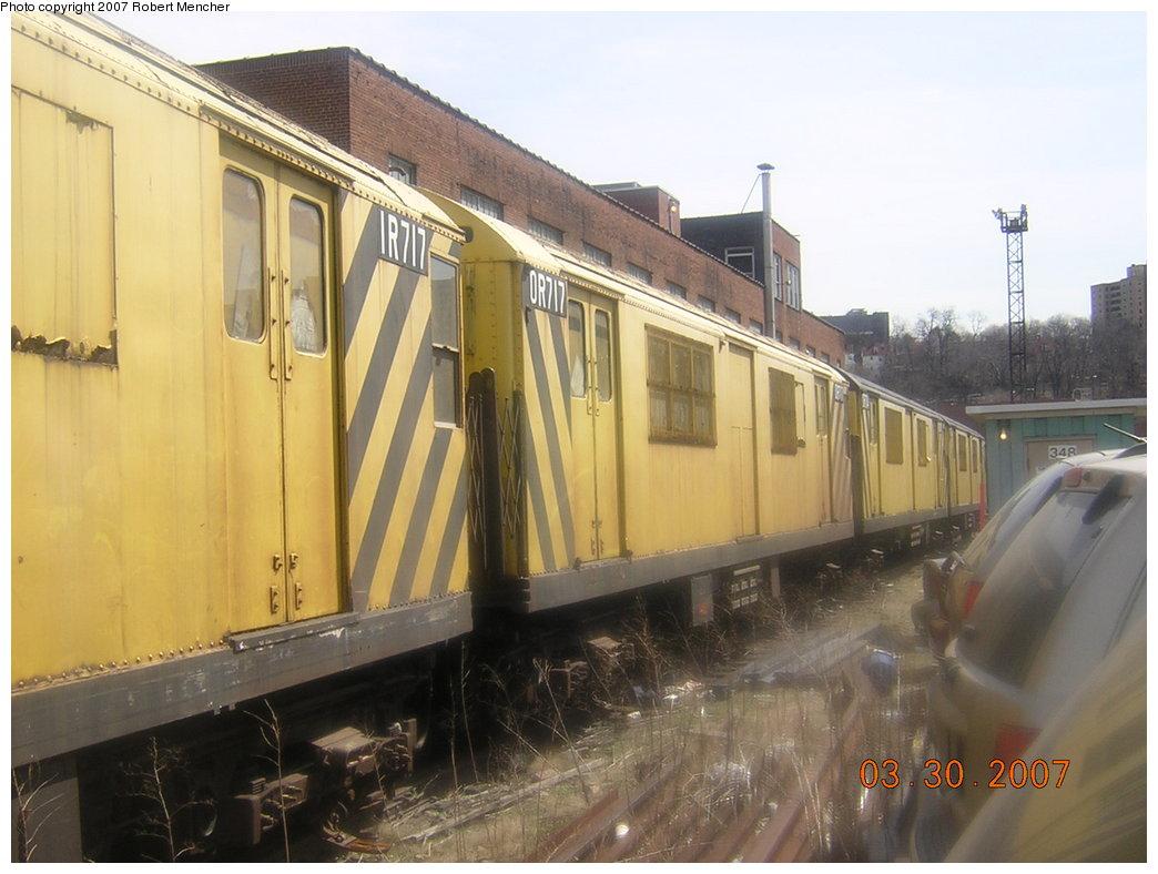 (181k, 1044x788)<br><b>Country:</b> United States<br><b>City:</b> New York<br><b>System:</b> New York City Transit<br><b>Location:</b> 207th Street Yard<br><b>Car:</b> R-95 Revenue Collector 0R717 (ex-7313)<br><b>Photo by:</b> Robert Mencher<br><b>Date:</b> 3/30/2007<br><b>Viewed (this week/total):</b> 0 / 2064