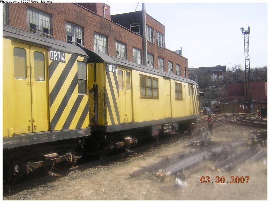 (202k, 1044x788)<br><b>Country:</b> United States<br><b>City:</b> New York<br><b>System:</b> New York City Transit<br><b>Location:</b> 207th Street Yard<br><b>Car:</b> R-95 Revenue Collector 0R714 (ex-7194)<br><b>Photo by:</b> Robert Mencher<br><b>Date:</b> 3/30/2007<br><b>Viewed (this week/total):</b> 4 / 2530