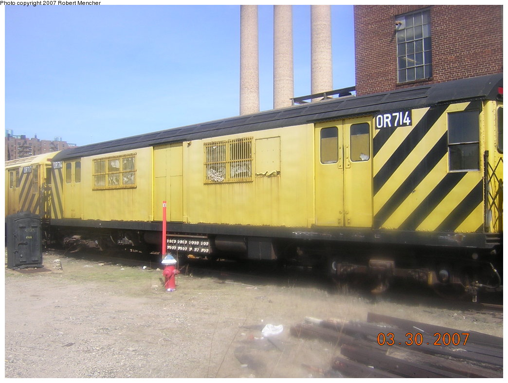 (190k, 1044x788)<br><b>Country:</b> United States<br><b>City:</b> New York<br><b>System:</b> New York City Transit<br><b>Location:</b> 207th Street Yard<br><b>Car:</b> R-95 Revenue Collector 0R714 (ex-7194)<br><b>Photo by:</b> Robert Mencher<br><b>Date:</b> 3/30/2007<br><b>Viewed (this week/total):</b> 5 / 2196