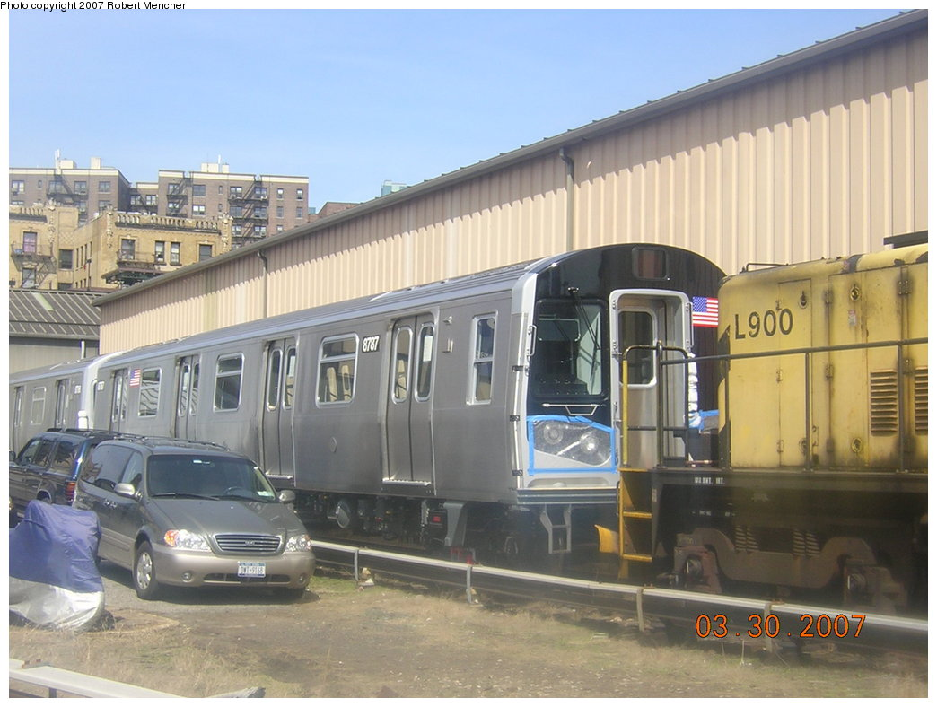 (188k, 1044x788)<br><b>Country:</b> United States<br><b>City:</b> New York<br><b>System:</b> New York City Transit<br><b>Location:</b> 207th Street Yard<br><b>Car:</b> R-160B (Kawasaki, 2005-2008)  8787 <br><b>Photo by:</b> Robert Mencher<br><b>Date:</b> 3/30/2007<br><b>Viewed (this week/total):</b> 0 / 3422
