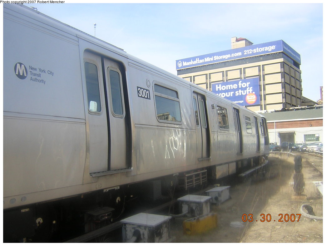 (163k, 1044x788)<br><b>Country:</b> United States<br><b>City:</b> New York<br><b>System:</b> New York City Transit<br><b>Location:</b> 207th Street Yard<br><b>Car:</b> R-110B (Bombardier, 1992) 3001 <br><b>Photo by:</b> Robert Mencher<br><b>Date:</b> 3/30/2007<br><b>Viewed (this week/total):</b> 0 / 3115