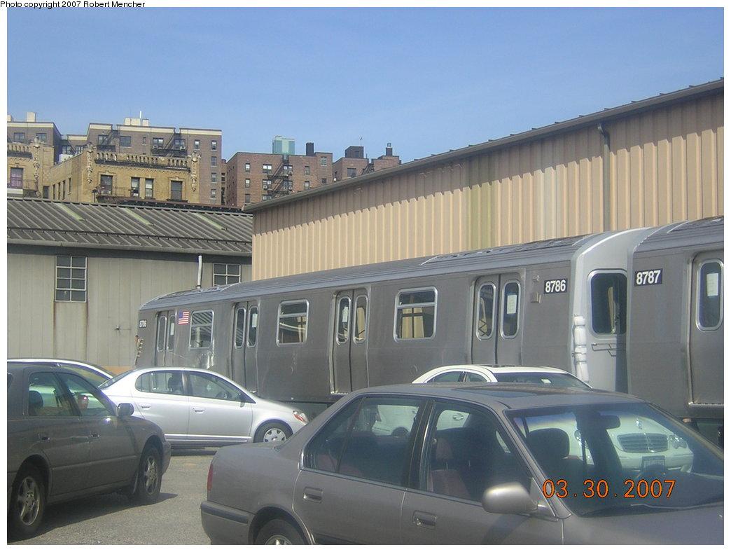 (173k, 1044x788)<br><b>Country:</b> United States<br><b>City:</b> New York<br><b>System:</b> New York City Transit<br><b>Location:</b> 207th Street Yard<br><b>Car:</b> R-160B (Kawasaki, 2005-2008)  8786 <br><b>Photo by:</b> Robert Mencher<br><b>Date:</b> 3/30/2007<br><b>Viewed (this week/total):</b> 0 / 2531