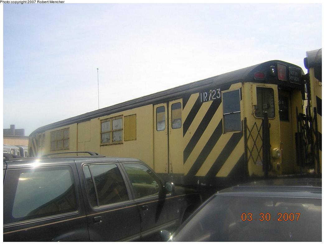 (138k, 1044x788)<br><b>Country:</b> United States<br><b>City:</b> New York<br><b>System:</b> New York City Transit<br><b>Location:</b> 207th Street Yard<br><b>Car:</b> R-95 Locker Car (Revenue Train) 1R723 (ex-7496)<br><b>Photo by:</b> Robert Mencher<br><b>Date:</b> 3/30/2007<br><b>Viewed (this week/total):</b> 0 / 1522
