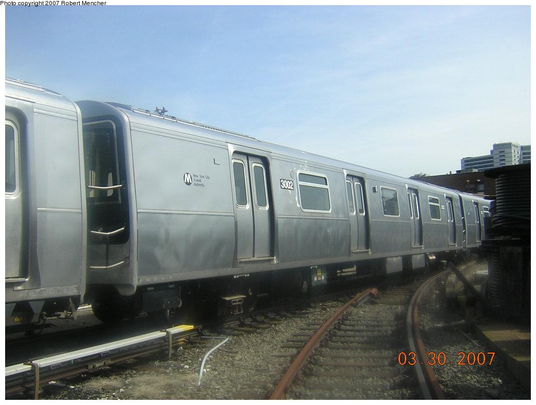 (154k, 1044x788)<br><b>Country:</b> United States<br><b>City:</b> New York<br><b>System:</b> New York City Transit<br><b>Location:</b> 207th Street Yard<br><b>Car:</b> R-110B (Bombardier, 1992) 3002 <br><b>Photo by:</b> Robert Mencher<br><b>Date:</b> 3/30/2007<br><b>Viewed (this week/total):</b> 0 / 3103