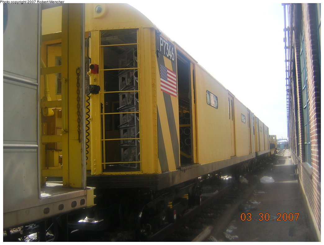 (161k, 1044x788)<br><b>Country:</b> United States<br><b>City:</b> New York<br><b>System:</b> New York City Transit<br><b>Location:</b> 207th Street Yard<br><b>Car:</b> R-71 Pump/Reach Car (R-17/R-21/R-22 Rebuilds) P7346 (ex-7346)<br><b>Photo by:</b> Robert Mencher<br><b>Date:</b> 3/30/2007<br><b>Viewed (this week/total):</b> 1 / 2942