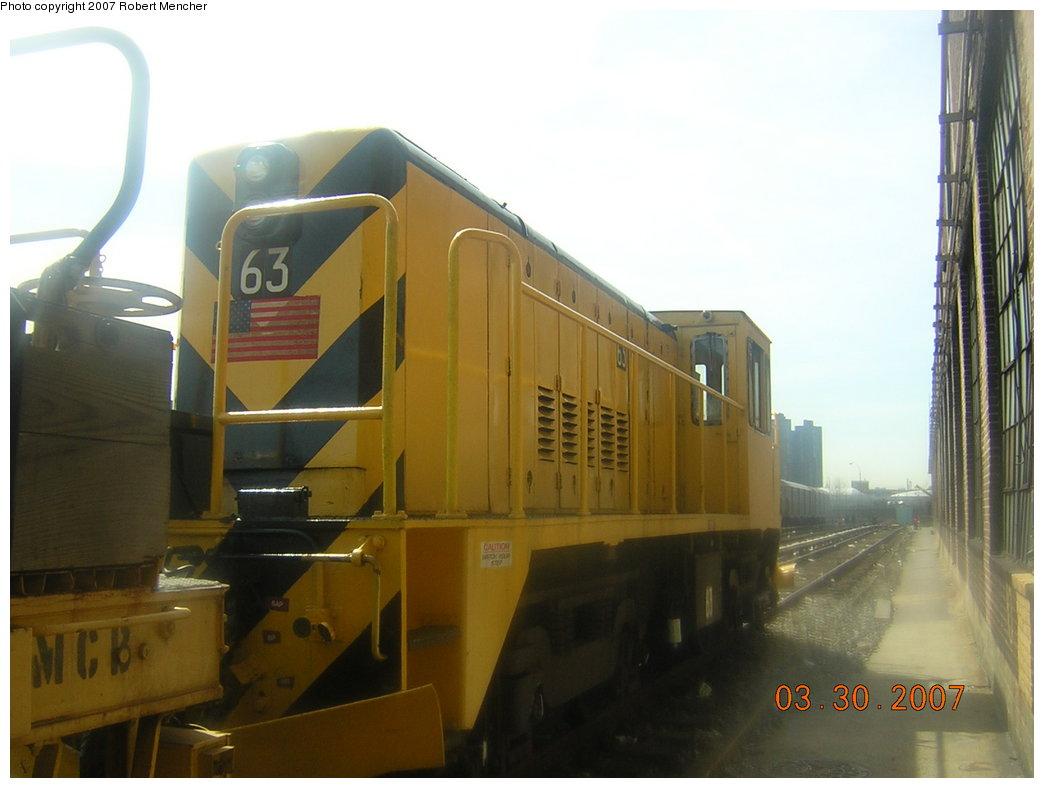 (151k, 1044x788)<br><b>Country:</b> United States<br><b>City:</b> New York<br><b>System:</b> New York City Transit<br><b>Location:</b> 207th Street Yard<br><b>Car:</b> R-47 Locomotive  63 <br><b>Photo by:</b> Robert Mencher<br><b>Date:</b> 3/30/2007<br><b>Viewed (this week/total):</b> 1 / 1451