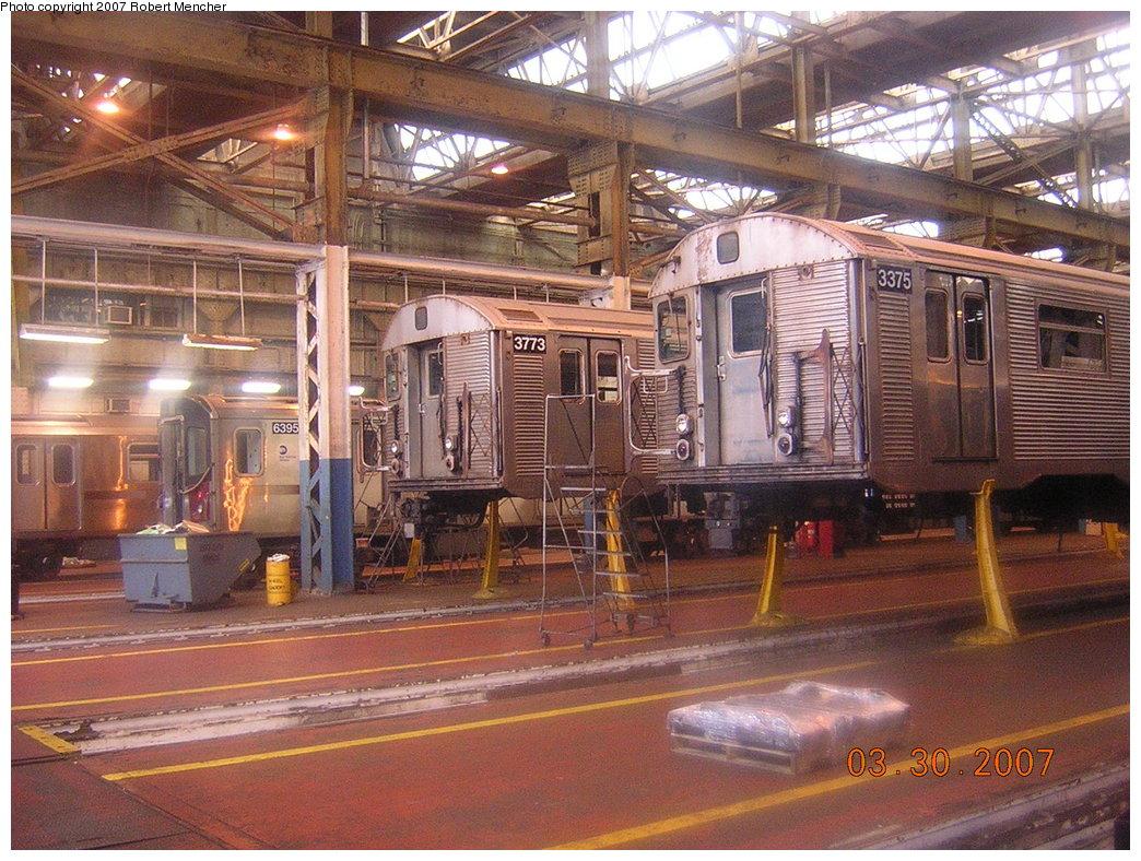 (267k, 1044x788)<br><b>Country:</b> United States<br><b>City:</b> New York<br><b>System:</b> New York City Transit<br><b>Location:</b> 207th Street Shop<br><b>Car:</b> R-32 (Budd, 1964)  3773/3375 <br><b>Photo by:</b> Robert Mencher<br><b>Date:</b> 3/30/2007<br><b>Viewed (this week/total):</b> 2 / 2429